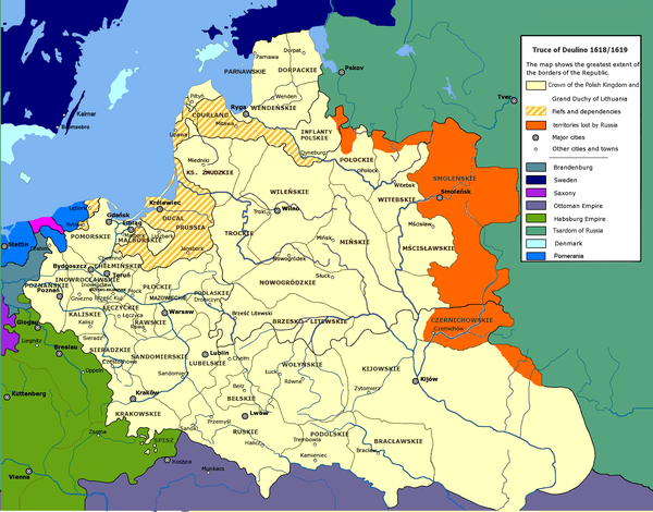 The Polish-Lithuanian Commonwealth at its greatest extent, after the Truce of Deulino of 1619 Truce of Deulino 1618-1619.PNG