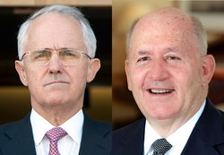 Portrait photos of Former Prime Minister Malcolm Turnbull (left) and Governor-General Peter Cosgrove (right)