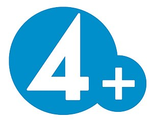 The logo of the swedish tv-channel TV4 Plus