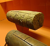 Two teponaztli, Aztec drums. This one was foun...