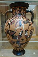 Tyrrhenian Neck Amphora, Goltyr Painer, Greek, c. 565-550 BC, Side A (Amazonomachy, roosters, panthers, ram), Side B (Komast, swans, sphinxes, panthers, rams), ceramic, black figure - Chazen Museum of Art - DSC02668.JPG