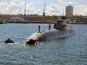 Type 212 submarine - U31 of the German Navy in Kiel harbor
