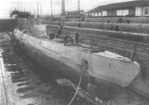 Soviet S-class submarine - Spanish submarine E-1 at the shipyard in Cádiz