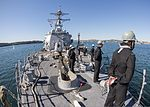 U.S. Sailors aboard the guided missile destroyer USS Momsen (DDG 92) man the rails before pulling into Sydney for a port visit as part of Talisman Saber July 29, 2013 130729-N-HI414-095.jpg
