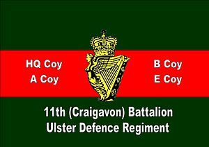 11th Battalion, Ulster Defence Regiment - Main Gate sign from Mahon Barracks