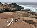 UMX Radian glider and Spektrum DX6 radio on a rock at Bald Head Cliff IMG 2852 FRD.jpg
