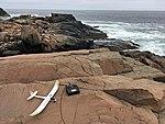 UMX Radian glider and Spektrum DX6 radio on a rock at Bald Head Cliff IMG 2852 FRD.jpg