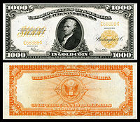 $1,000 Gold Certificate, Series 1922, Fr.1220, depicting Alexander Hamilton
