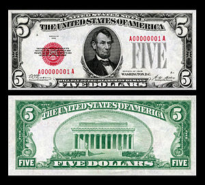 The first small-size $5 United States Note printed (Smithsonian). US-$5-LT-1928-Fr.1525.jpg