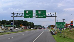 U.S. Route 13 - Beginning of US 9 eastbound from US 13 northbound near Laurel, Delaware