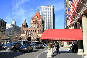 The Fairmont Copley Plaza Hotel - Copley Square in 2013, the hotel entrance on the right