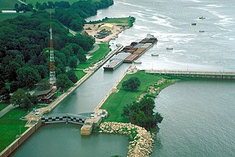 Illinois Waterway - Starved Rock Lock and Dam on the Illinois Waterway