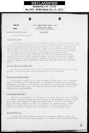 USS Freestone (APA-167) - Image: USS Freestone War Diary Pg 02 Nov 1944