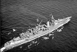USS Indianapolis (CA-35) - USS Indianapolis (CA-35) underway at sea, in 1943-1944 (NH 124466)