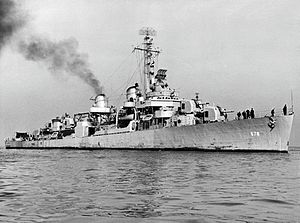 USS McGowan (DD-678) at sea, circa in 1945