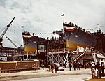 USS Paul Hamilton (DD-590) and USS Twiggs (DD-591) ready for launching at the Charleston Naval Shipyard on 7 April 1943 (80-G-K-13833).jpg