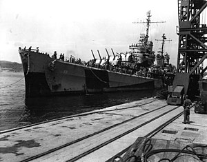 USS San Diego (CL-53) arrives at Yokosuka, 30 August 1945.jpg