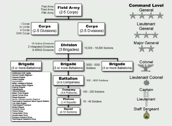 diagramme opérationelle des unitées de l'US Army