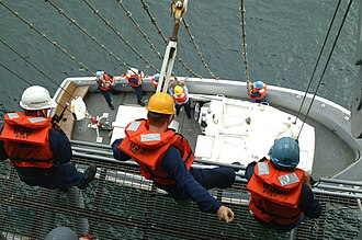 Captain's gig - U.S. Navy sailors from USS Essex (LHD-2) raise their captain's gig out of the sea in August 2002.