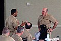 US Navy 030502-N-2383B-045 Adm. Vern Clark, Chief of Naval Operations (CNO) listens to a question by Force Master Chief Keith Goosby from Naval Air Forces Pacific during the Spring 2003 CNO-MCPON Leadership Forum.jpg