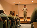 US Navy 040712-N-0962S-002 Master Chief Petty Officer of the Navy (MCPON) Terry Scott explains his leadership expectations to a class of students at the Senior Enlisted Academy in Newport, R.I.jpg