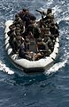 US Navy 060523-N-9851B-006 A visit, board, search and seizure (VBSS) team from the Philippine Navy approaches amphibious dock landing ship USS Tortuga (LSD 46) in a rigid hull inflatable boat (RHIB) during a boarding exercise.jpg