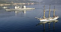 US Navy 061026-N-5330L-271 The Montenegrin ship Jadron sails alongside the guided missile cruiser USS Anzio (CG 68) as the ship departs Tivat, Montenegro following a three-day visit to strengthen the relationship between the tw.jpg
