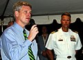 US Navy 061115-N-3285B-204 Consul General to the Netherlands Antilles Robert E. Sorenson speaks at a reception held aboard the Oliver Hazard Perry-class frigate USS Stephen W. Groves (FFG 29).jpg