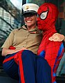 US Navy 070523-N-8923M-390 Cpl. Candace Mattox smiles as she poses with Spider-man on the streets in downtown Manhattan.jpg
