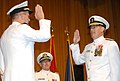 US Navy 070608-N-1026O-001 Chief of Naval Operations Adm. Mike Mullen administers the oath of office to Superintendent, U.S. Naval Academy, Vice Adm. Jeffrey L. Fowler during a change of command and promotion ceremony.jpg