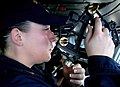 US Navy 070705-N-9475M-022 Quatermaster 2nd Class Nichole Lowe uses a stata meter to check the distance between Nimitz-class aircraft carrier USS Harry S. Truman (CVN 75) and Military Sealift Command fleet replenishment oiler U.jpg