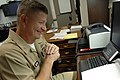 US Navy 090805-N-9818V-038 Master Chief Petty Officer of the Navy (MCPON) Rick West answers questions during a telephone interview.jpg