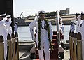 US Navy 100107-N-3560G-002 Cmdr. Edward Herrington is piped ashore after being relieved by Cmdr. Stephen Mack during a change of command ceremony at Naval Station Pearl Harbor.jpg