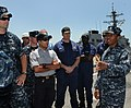 US Navy 100503-N-2259P-027 Hospital Corpsman 1st Class Marc Vidale briefs visitors about the littoral combat ship USS Freedom (LCS 1).jpg