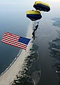 US Navy 100603-N-0000L-051 Members of the U.S. Navy parachute demonstration team, the Leap Frogs, perform a bi-plane formation with an American flag.jpg