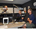 US Navy 110614-N-CD652-004 Navy Divers 2nd Class Jonathon Ballew, right, and Alexander Weber conduct a radio interview with Gary Poole on Chattanoo.jpg
