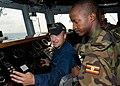 US Navy 110725-N-OV802-056 Boatswain's Mate Seaman Mitchel Zeleski instructs Tanzanian navy Capt. A.M. Kihula and Lance Cpl. S.K. Rutungu on the br.jpg