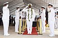 US Navy 111118-N-WP746-740 Sailors assigned to Commander, Navy Region Hawaii and Naval Surface Group Middle Pacific, salute Rear Adm. Fernandez.jpg