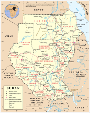 An enlargeable map of the Republic of Sudan