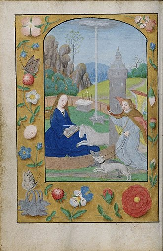 "Gideon - Gideon's fleece, as symbol of Mary, in a ""Hunt of the Unicorn Annunciation"" (ca. 1500) from a Netherlandish book of hours. For the complicated iconography, see Hortus Conclusus."