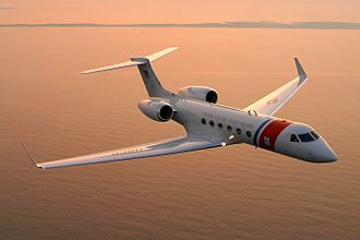 A C-37A Gulfstream in flight United States Coast Guard C-37A.jpg