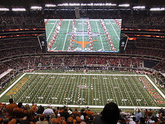 AT&T Stadium - University of Texas marching band during the Big 12 Championship game