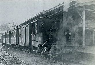 Shin'etsu Main Line - A train on the Uomuna line in 1937, prior to its conversion to 1,067 mm gauge