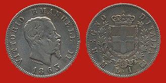 Lira - Obverse: Victor Emmanuel II