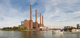 Industrial architecture - Volkswagen cogeneration plant in Wolfsburg, Germany, built in 1938 as part of the main Volkswagen factory
