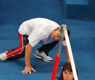 Valeri Liukin - Valeri Liukin spotting for his daughter, Nastia, during the 2008 Summer Olympics