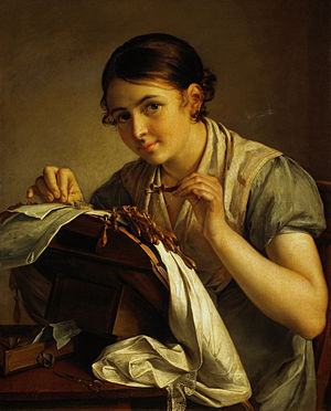 Vasily Tropinin - Lace making beauty,  1823