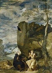 Diego Velázquez: Opat Antoni odwiedza pustelnika Pawła