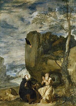 Velázquez - San Antonio Abad y San Pablo, primer ermitaño (Museo del Prado, 1635-38).jpg