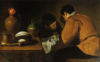 Wellington Collection - Two men sitting at the table, Diego Velázquez, c. 1618